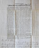 Reactionary Alabama clergyman's printed prospectus, with handwritten letter, for a pro-slavery magazine